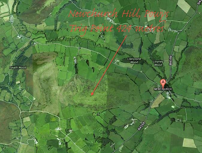 Newchurch Hill, Powys Map jpg