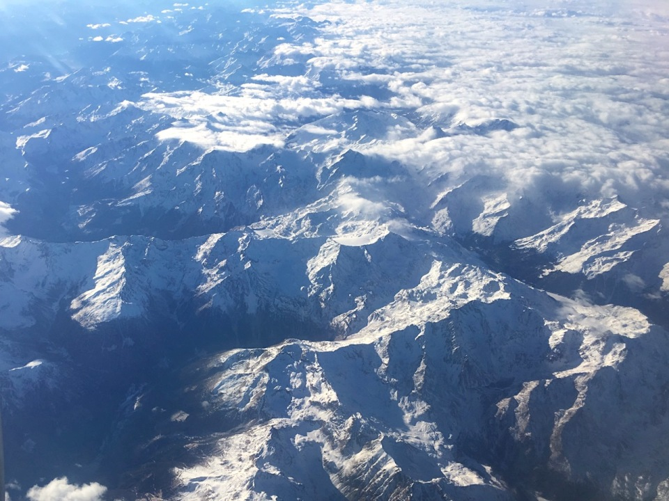 The Alps from 30,000 feet