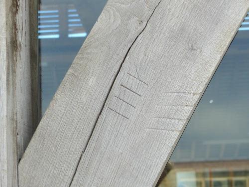 Cruck Market Hall, Penistone Yorks - carpenters' marks (Keith Salvesen)