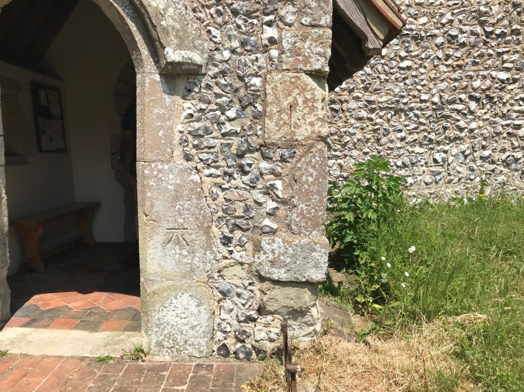St Michael's Church - sundial & benchmark. Litlington East Sussex (Keith Salvesen)