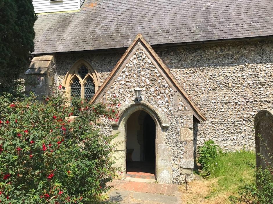 St Michael's Litlington, Sussex - Benchmark on porch front (Keith Salvesen)